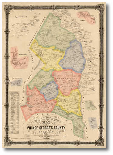Martenet's 1861 Map of Prince Georges County